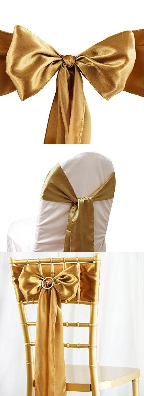 85d36dbb76cdd BalsaCircle 10 New Satin Chair Sashes Bows Ties - Antique Gold ...