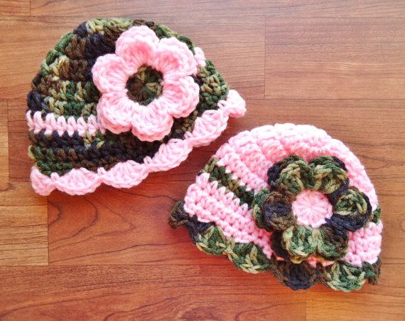 Photo of Crocheted Baby Girl/Girl Twin Hat Set ~ Camouflage with Dark Pink & Baby Pink ~ Baby Shower Gift ~ Newborn to 5T ~ MADE TO ORDER