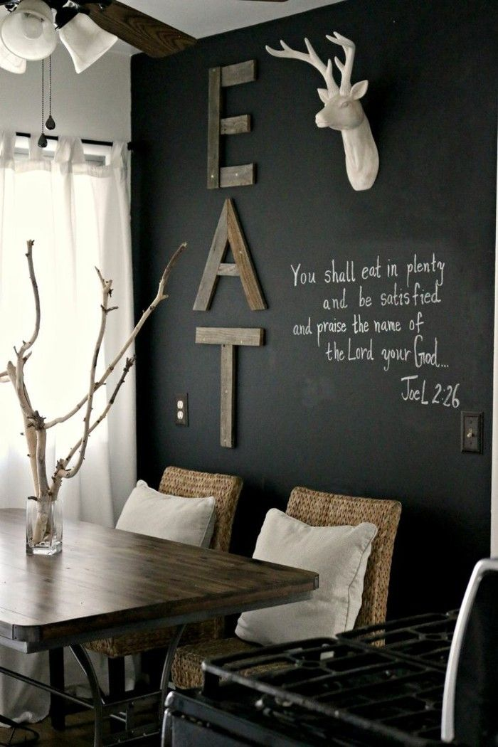 AuBergewohnlich Wandgestaltung Ideen Wandtafel Esszimmer Einrichten Ideen