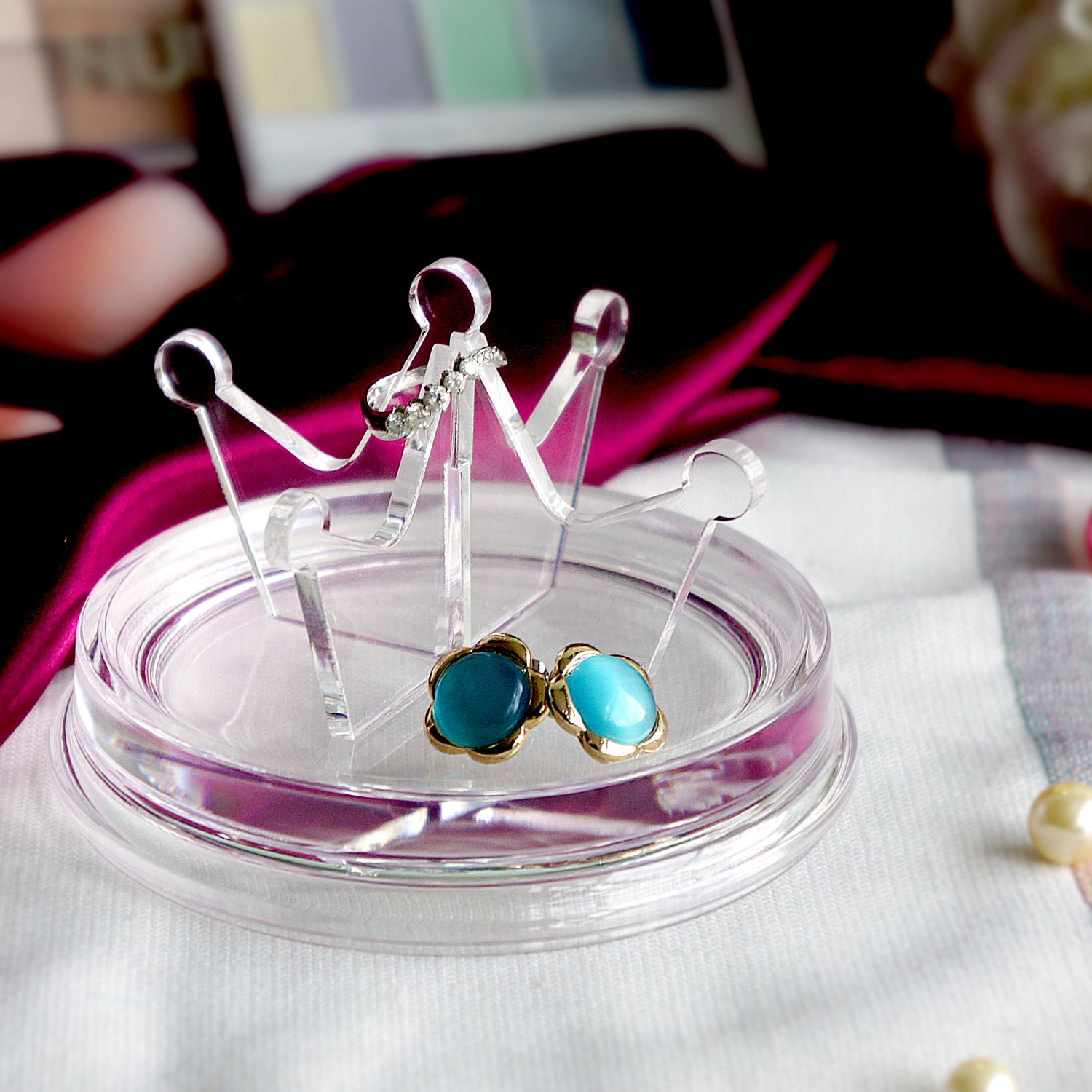 Queen's Crown Acrylic Ring Holder, Jewelry Tray