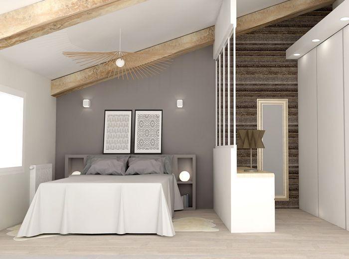 Chambre aménagée sous les combles avec dressing   wwwm-habitat - amenager une entree de maison