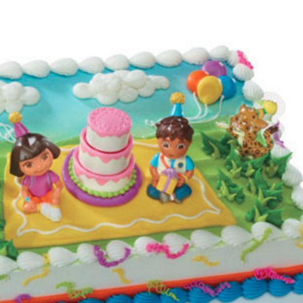 Dora And Diego Birthday Celebration Cake Kit Pcs  Dora - Dora birthday cake toppers
