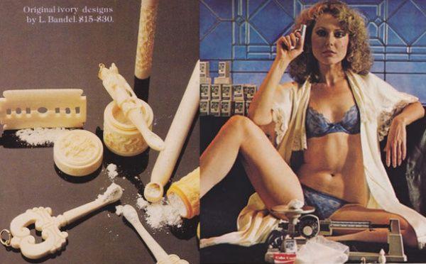 V 70. letech se v časopisech objevovaly reklamy propagující užívání kokainu prostřednictvím různých pomůcek.