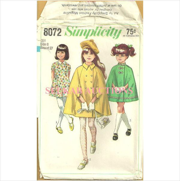 Simplicity 8072 Sewing Pattern Girl\'s Cape & Dress Size 8 1968 ...