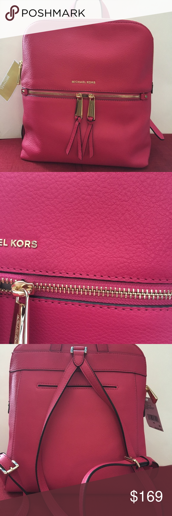 619add96c8d1f7 Michael Kors Michael Kors Rhea Zip Ultra Pink MD Slim BackPack Leather  30h6gezb2l Michael Kors Bags Backpacks