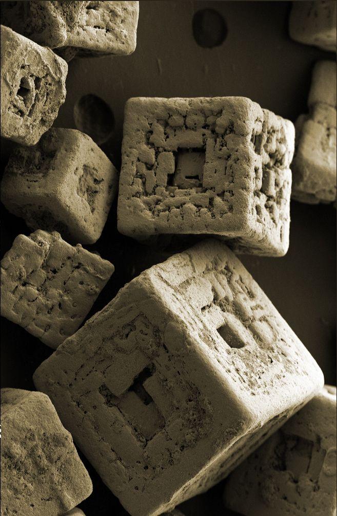Cristales de sal de mesa vistos al microscopio x150 zeiss - Cristales para mesa ...
