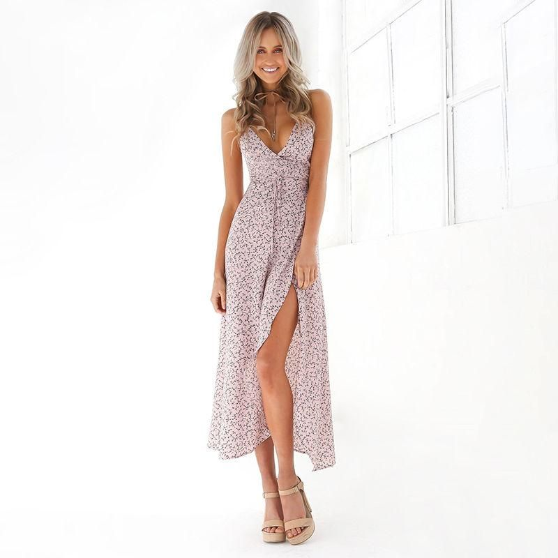 a0b40e7caf Women Boho Floral Long Maxi Dress Cocktail Party Evening Summer Beach  Sundress