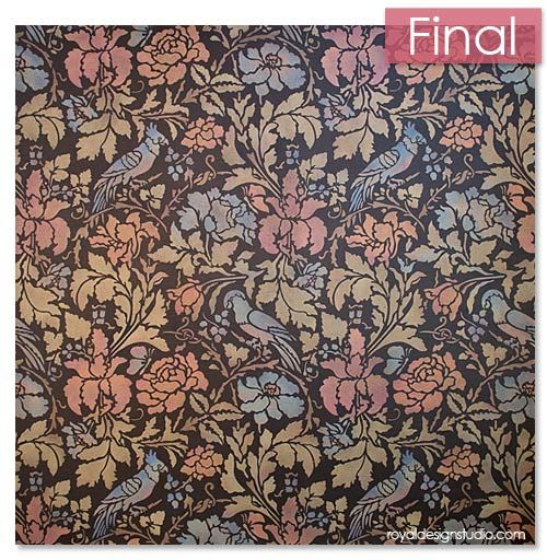 Floral Damask Wall Stencil in pretty metallic colors using Royal Design Stuido Stencil Cremes. Link has How-to tutorial!