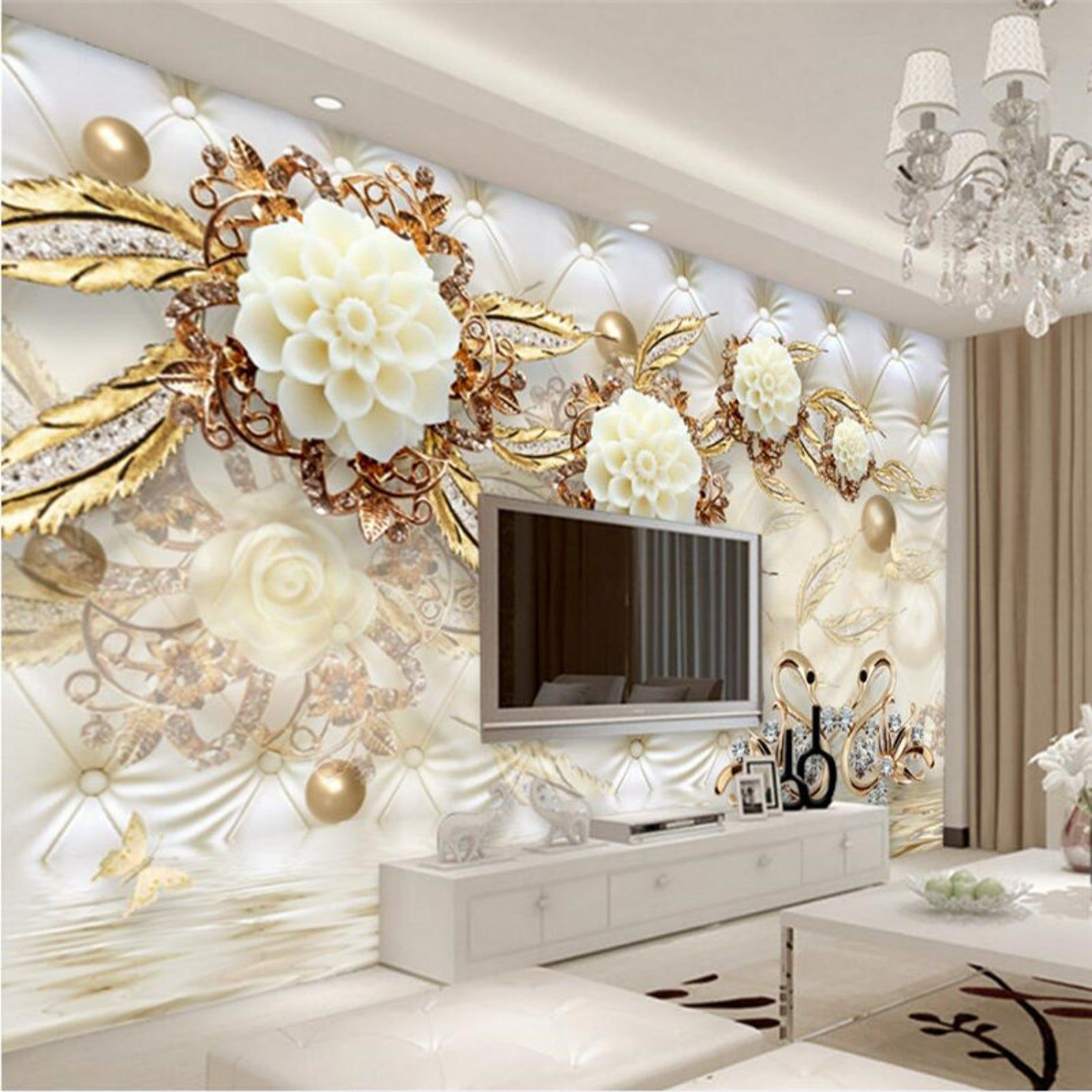 Custom Photo Wallpaper 3d Fresco Wall Paper Sticker 3d Luxury Etsy In 2020 3d Wallpaper Home Wall Painting Living Room Custom Photo Wallpaper