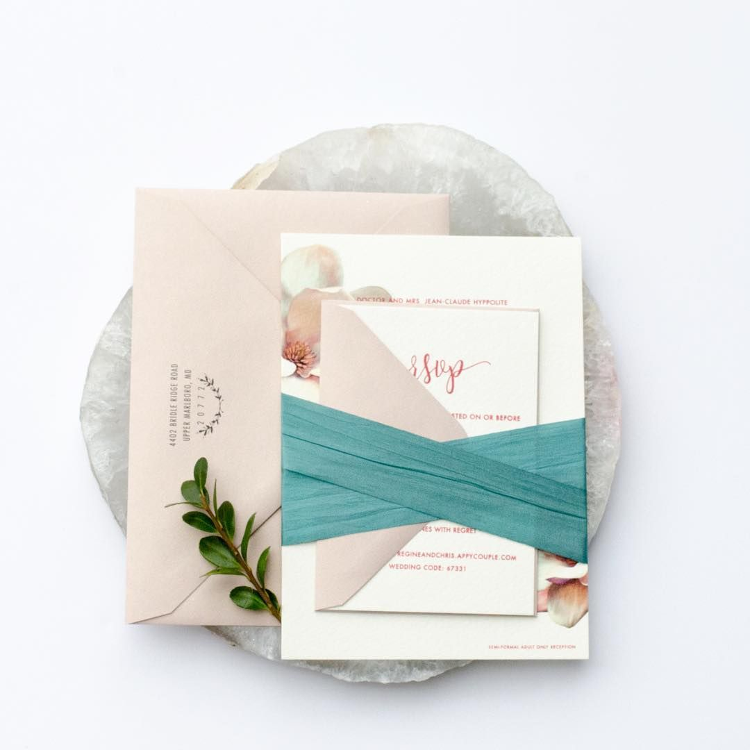 Blush and teal wedding invitation suite. It\'s all in the details ...