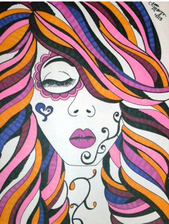 Sugar Skull Girl Sharpie 9x12 Drawing, Day of the Dead Art, Dia De ...