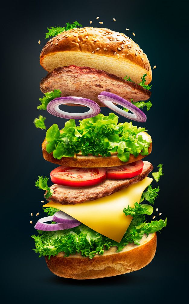 Floating burger isolated Premium Photo | Premium Photo #Freepik #photo #background #food #bread #burger