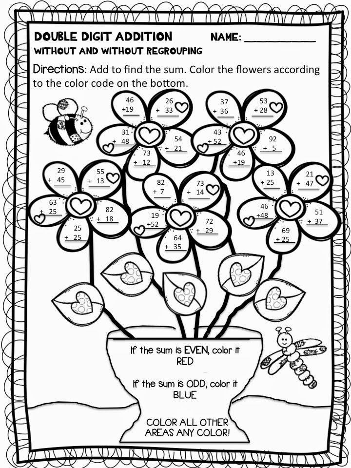 Color by Number Addition Addition coloring worksheet