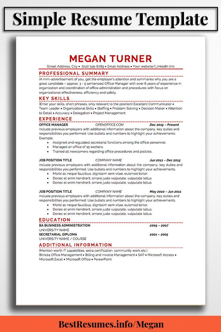 Great Resume Templates For Microsoft Word Resume Template Megan Turner  Simple Resume Template Job Resume .