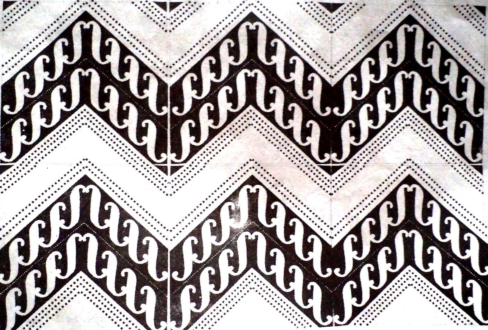 Sketsa Motif Batik Tumpal Sederhana Sempoa Dunia