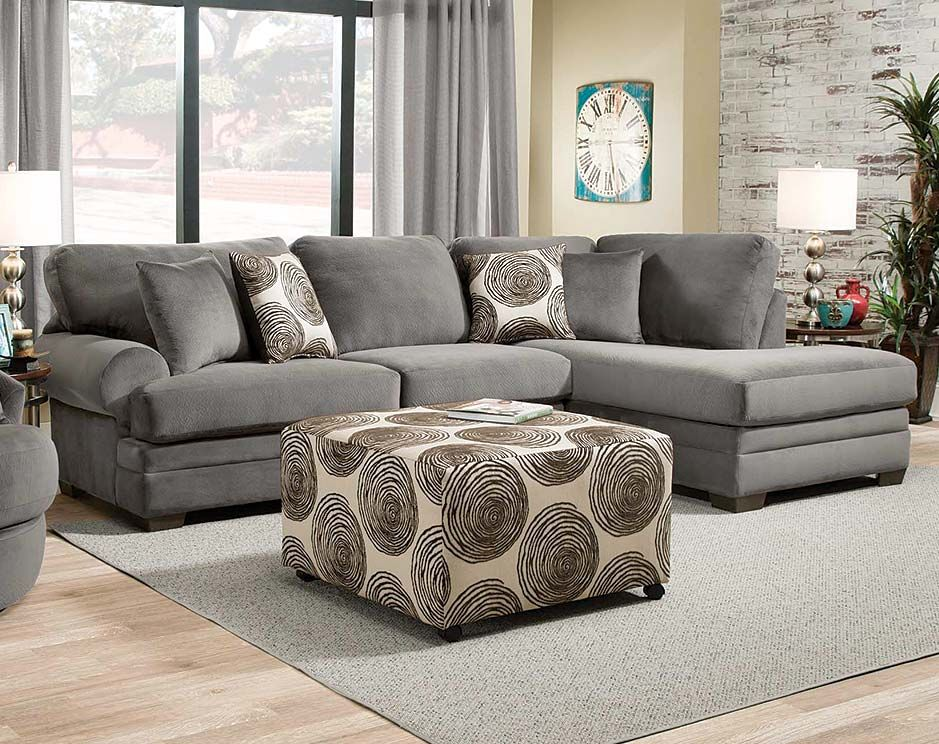 Gray Plush Couch With Chaise Knockout Charcoal 2 Pc Sectional Sofa