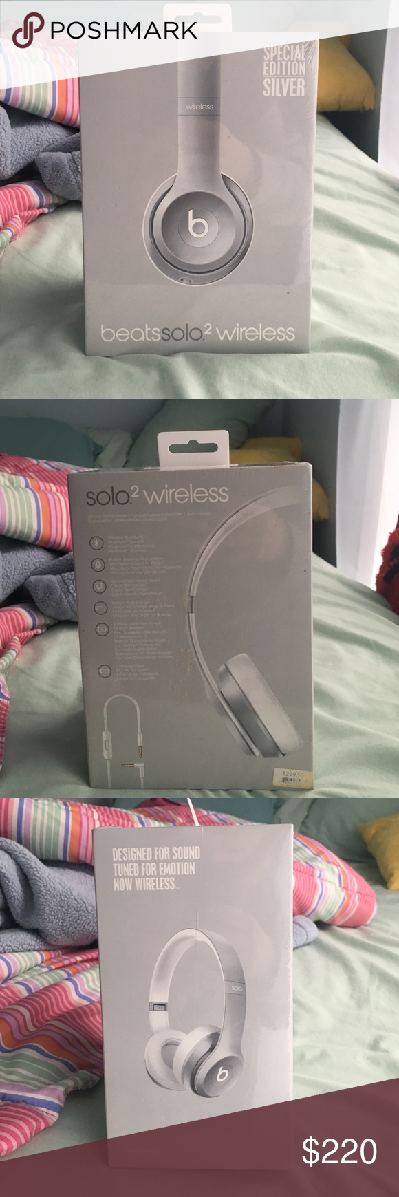 Beats Wireless Headphones Beats solo 2 wireless headphones, silver color, never been opened still in wrapping!!! Excellent condition!!! (Lululemon tag for picture quality) lululemon athletica Other