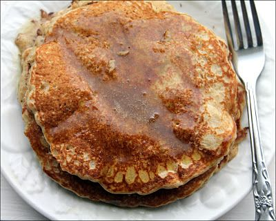 Healthy whole grain pancakes with yummy buttermilk syrup. Grain Crazy: pancakes