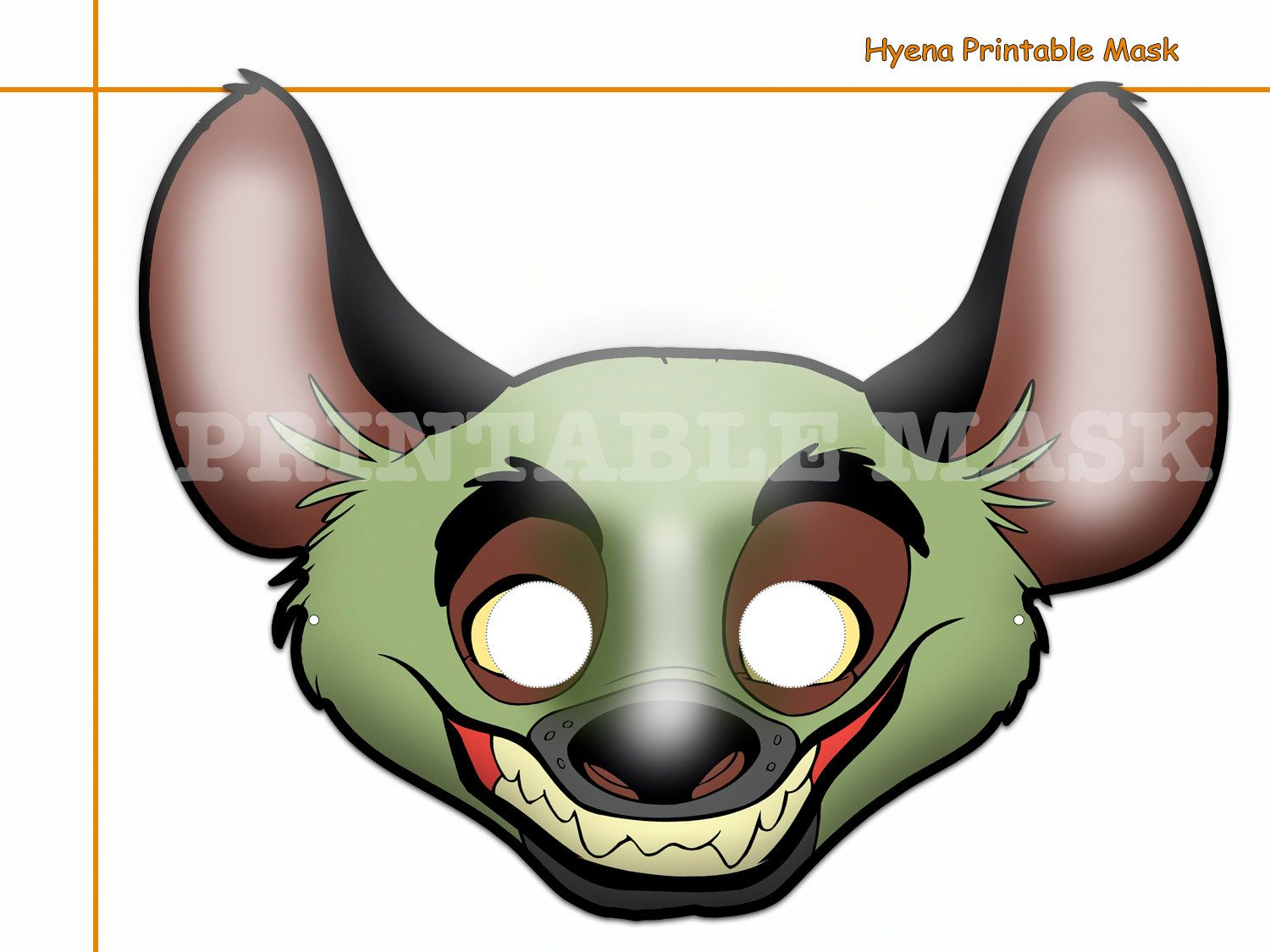 Unique Hyena Printable Mask, costumes, party, booth props, kids ...