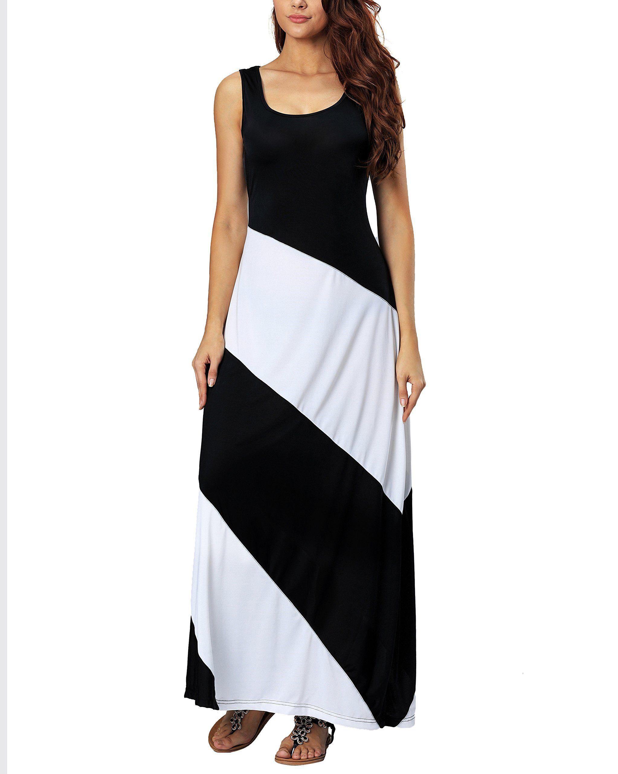 Aofur Summer Women Casual Striped Sleeveless Beach Maxi Dress Plus Size Evening Long Skirt Xxxl Plus Size Summer Dresses Maxi Dresses Casual Maxi Dress Wedding [ 2560 x 2046 Pixel ]