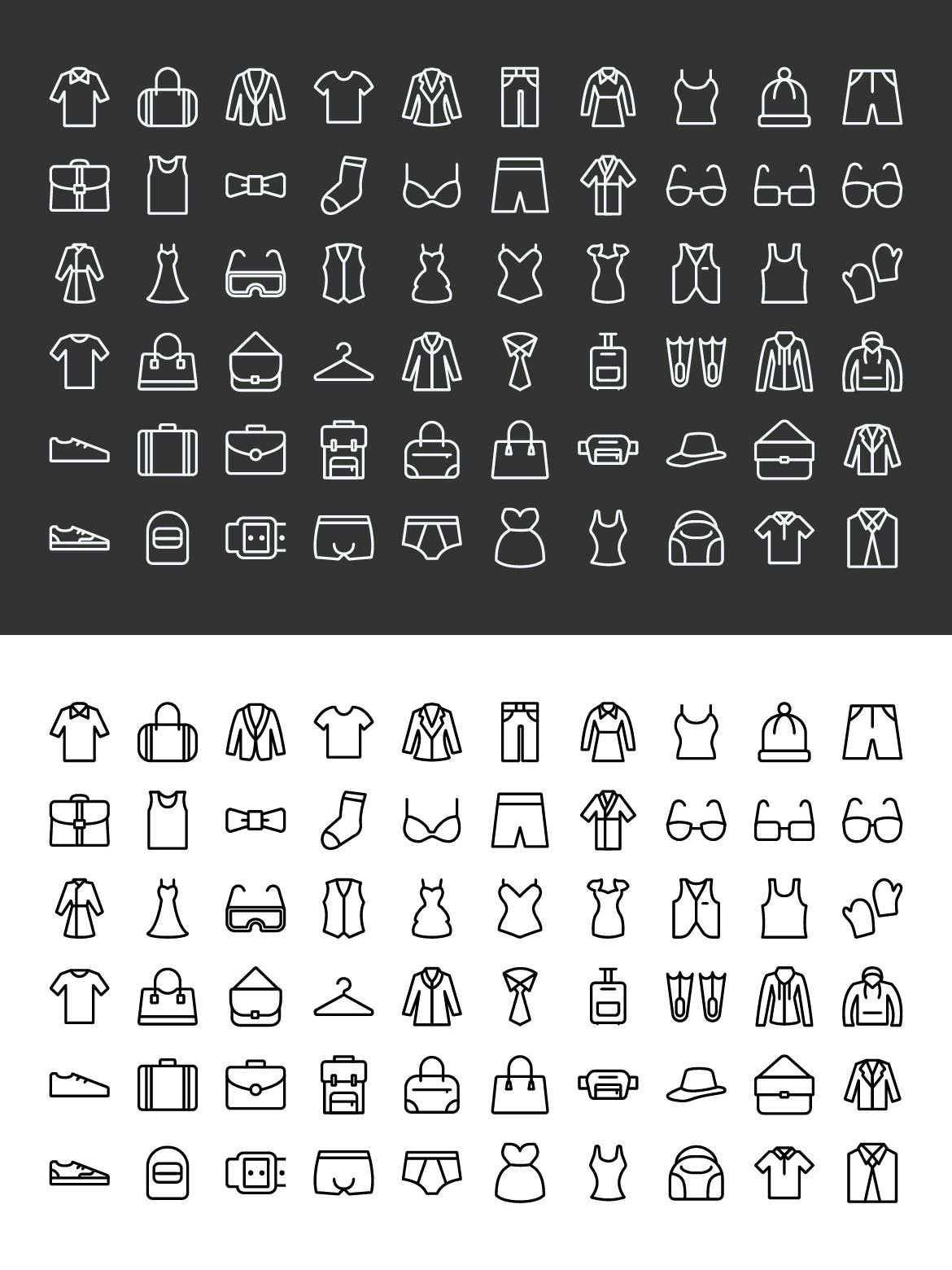 60 Clothing And Fashion Accessories Line Icons Line icon
