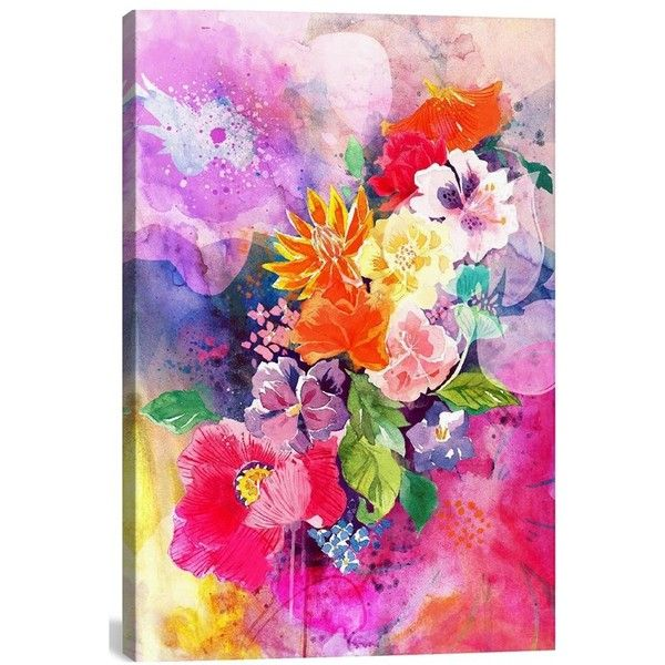 Icanvas 'spring Flowers - Darklord' Giclee Print Canvas Art ($102) ❤ liked on Polyvore featuring home, home decor, wall art, art, backgrounds, paintings, quadros, textured painting, giclee wall art and canvas wall art