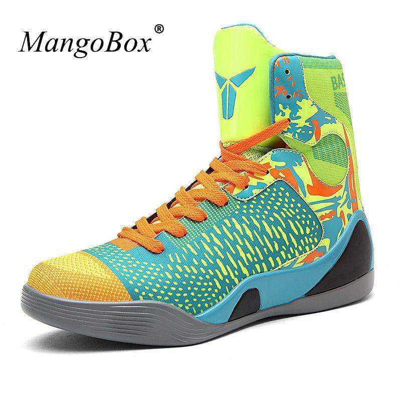 Men Basketball Shoes 2016 High Top Mens Sneakers Basketball Green Black Mens  Sport Basketball New Cool Outdoor Basketball Shoes 340bd381fde5