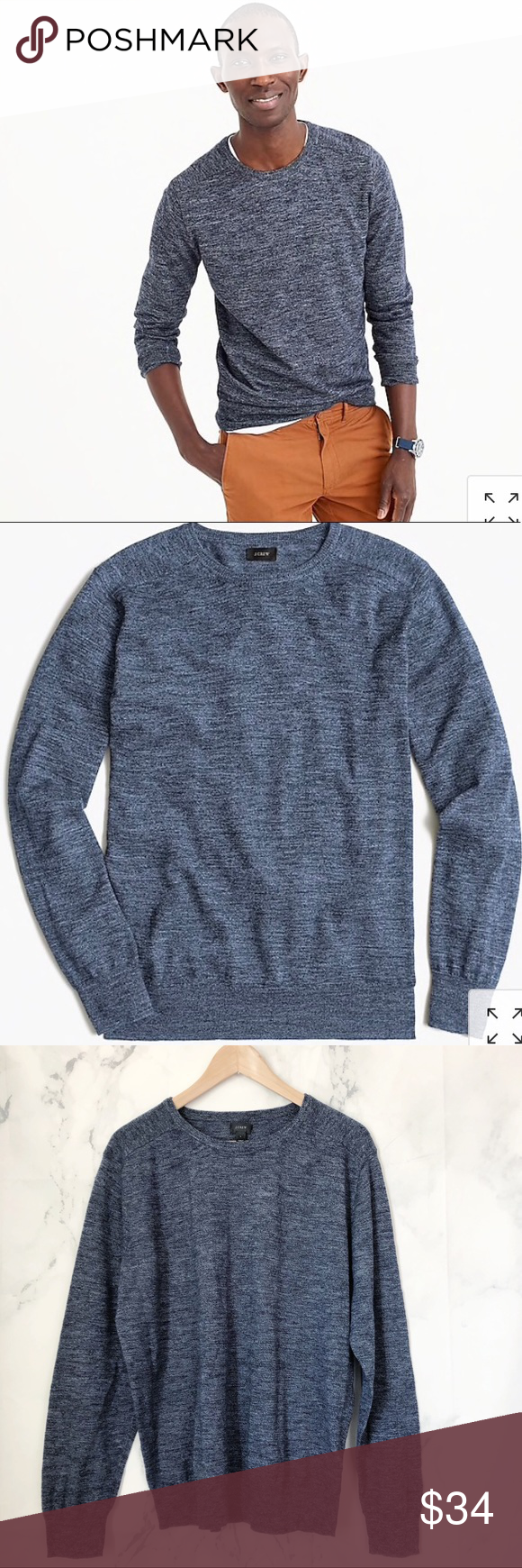 a32e8164aba J. Crew men s Cotton-linen blend heather sweater Cotton-linen blend heather  crewneck sweater Before there were synthetic fabrics to beat the heat