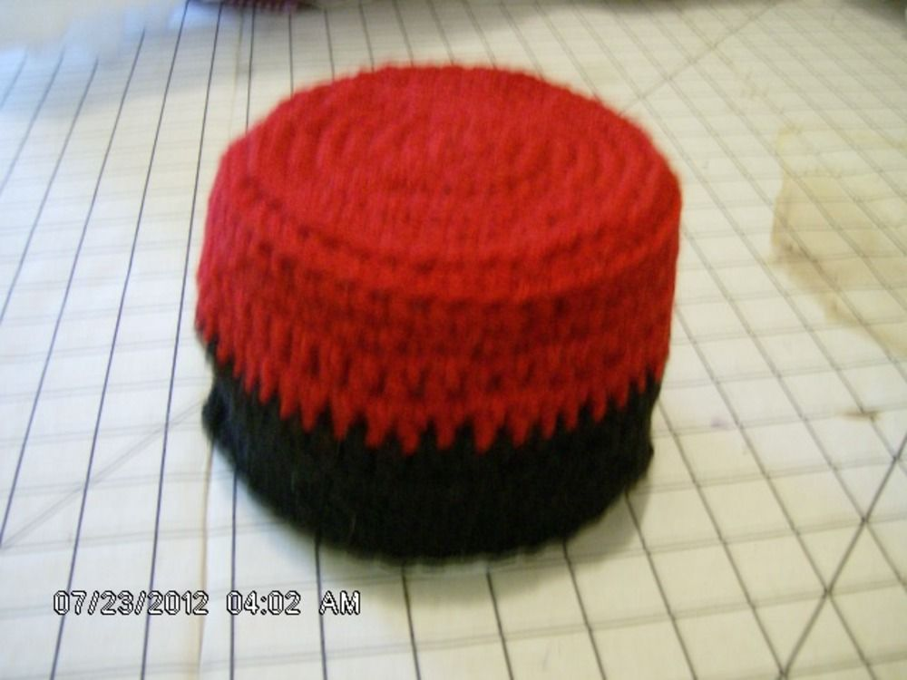 Crocheted Red and Black Toilet Tissue Cover