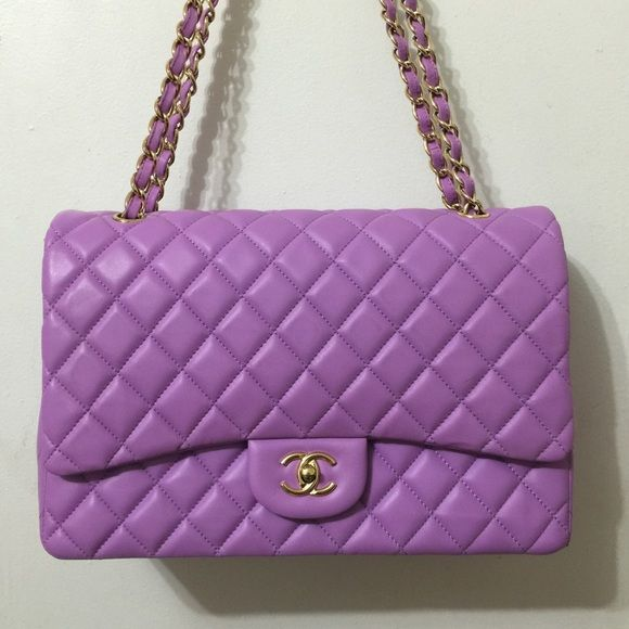 purple chanel bags. lilac double flap maxi chanel bag rare ghw in excellent purple bags