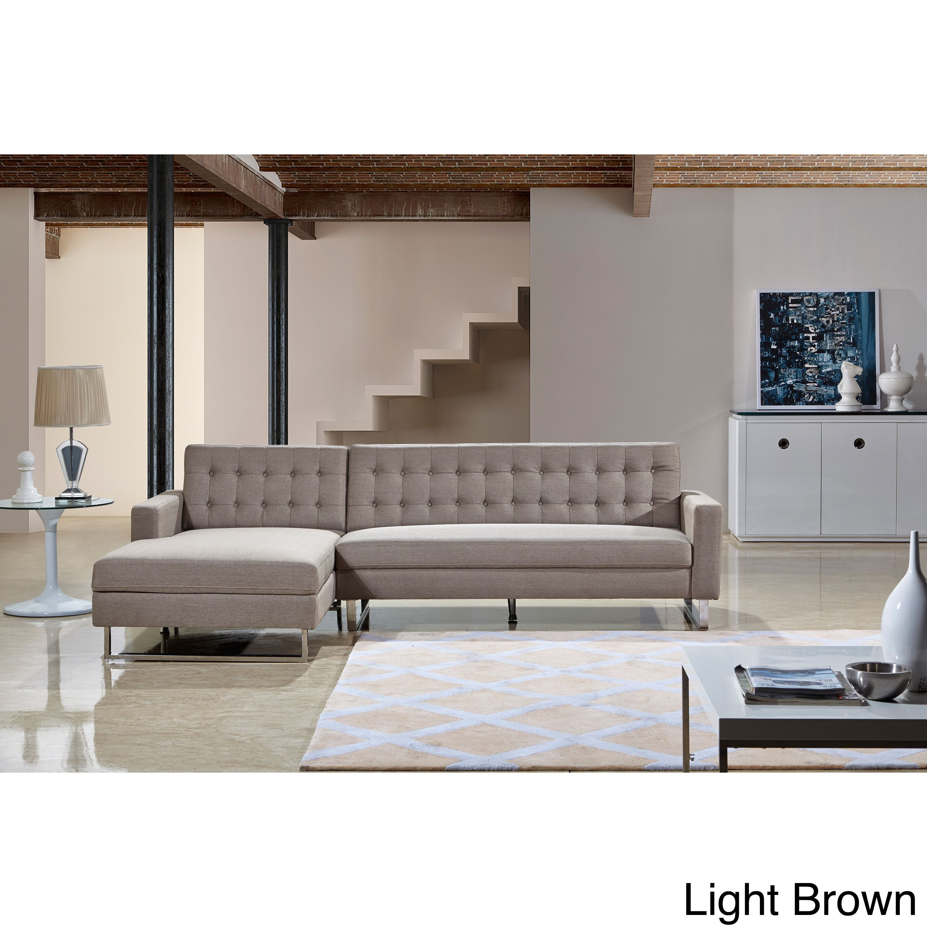 Dorris fabric contemporary left chaise sectional sofa set by us