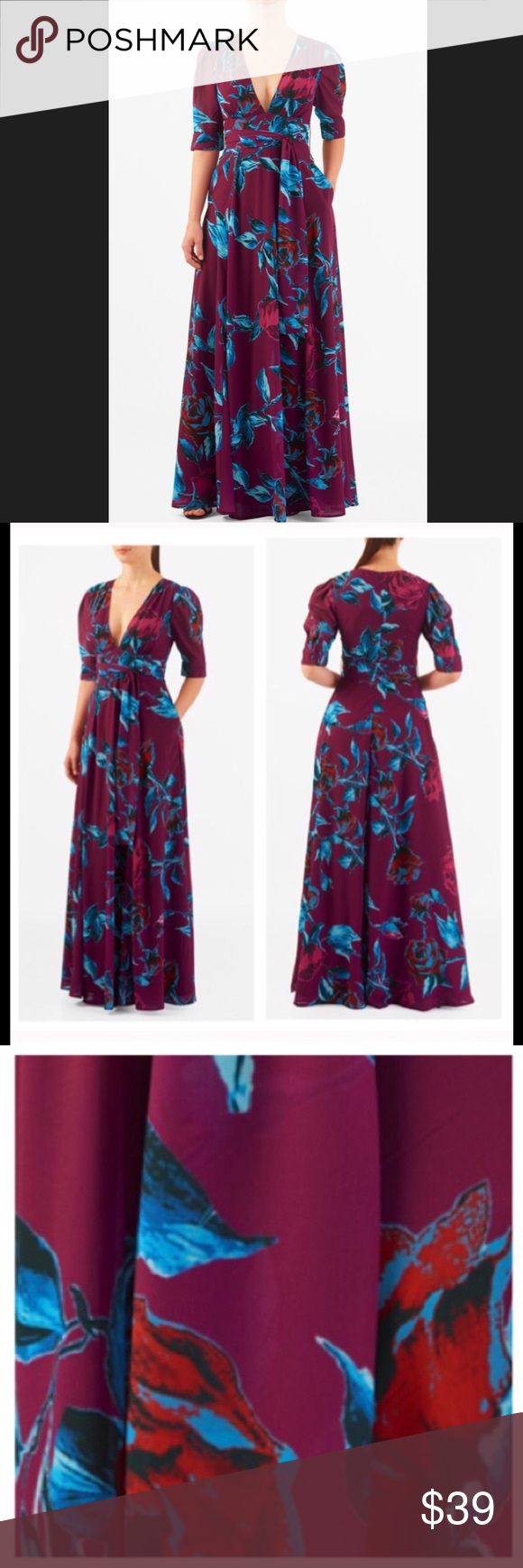 New eshakti magenta floral fit flare dress xl fit flare dress