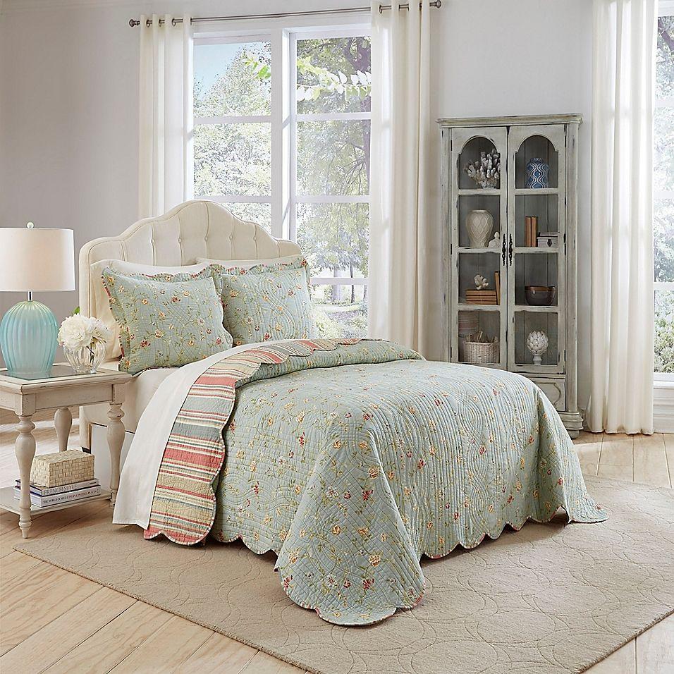 Waverly Garden Glitz 3 Piece Reversible King Bedspread Set In