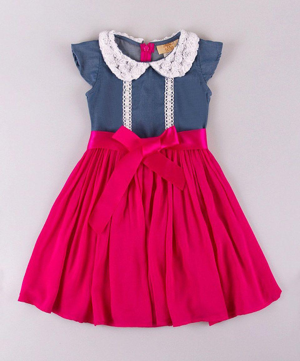 Mia Belle Baby Denim & Fuchsia Peter Pan Collar Dress - Toddler & Girls by Mia Belle Baby #zulily #zulilyfinds