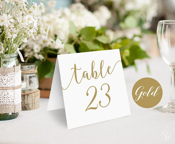 Gold Wedding Table Numbers Printable Tent Style Table Numbers & Gold Wedding Table Numbers Printable Tent Style Table Numbers ...