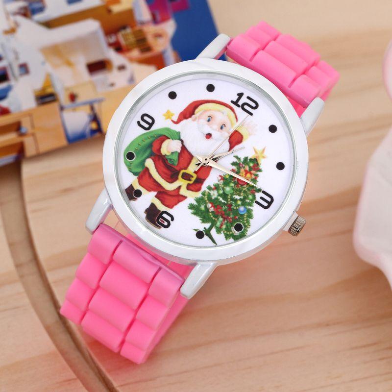 Hot Sale Santa Cartoon Watch Chrismates Watch Children's Quartz Watch Silicone Santa Slaus Pattern Watch Best Gifts