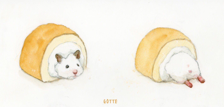 カプセルトイ ロールケーキ の原案イラストです 現在発売チュウです Cute Drawings Cute Art Cute Hamsters