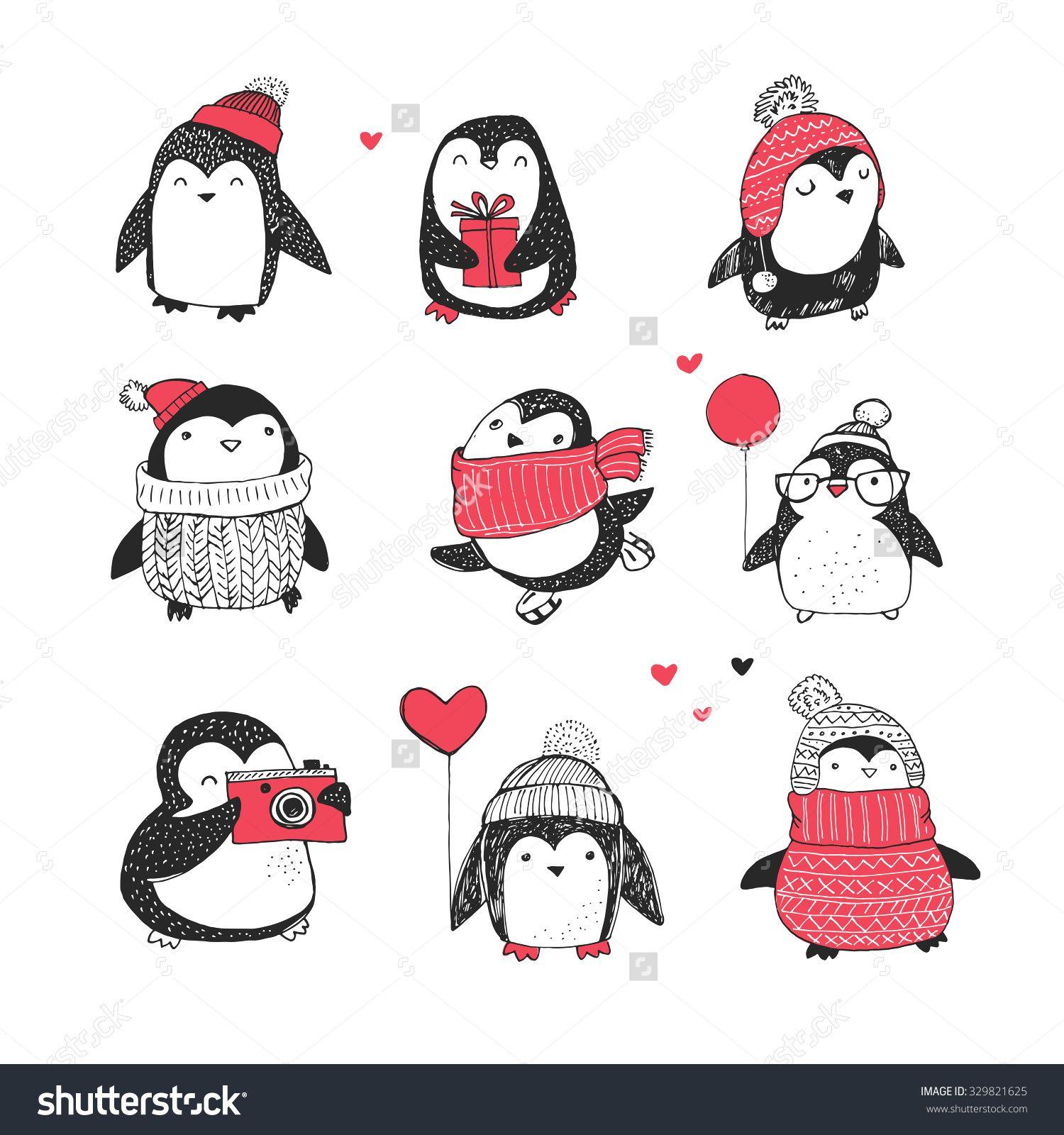 Cute Hand Drawn Penguins Set - Merry Christmas Greetings Stock Vector Illustration 329821625 ...