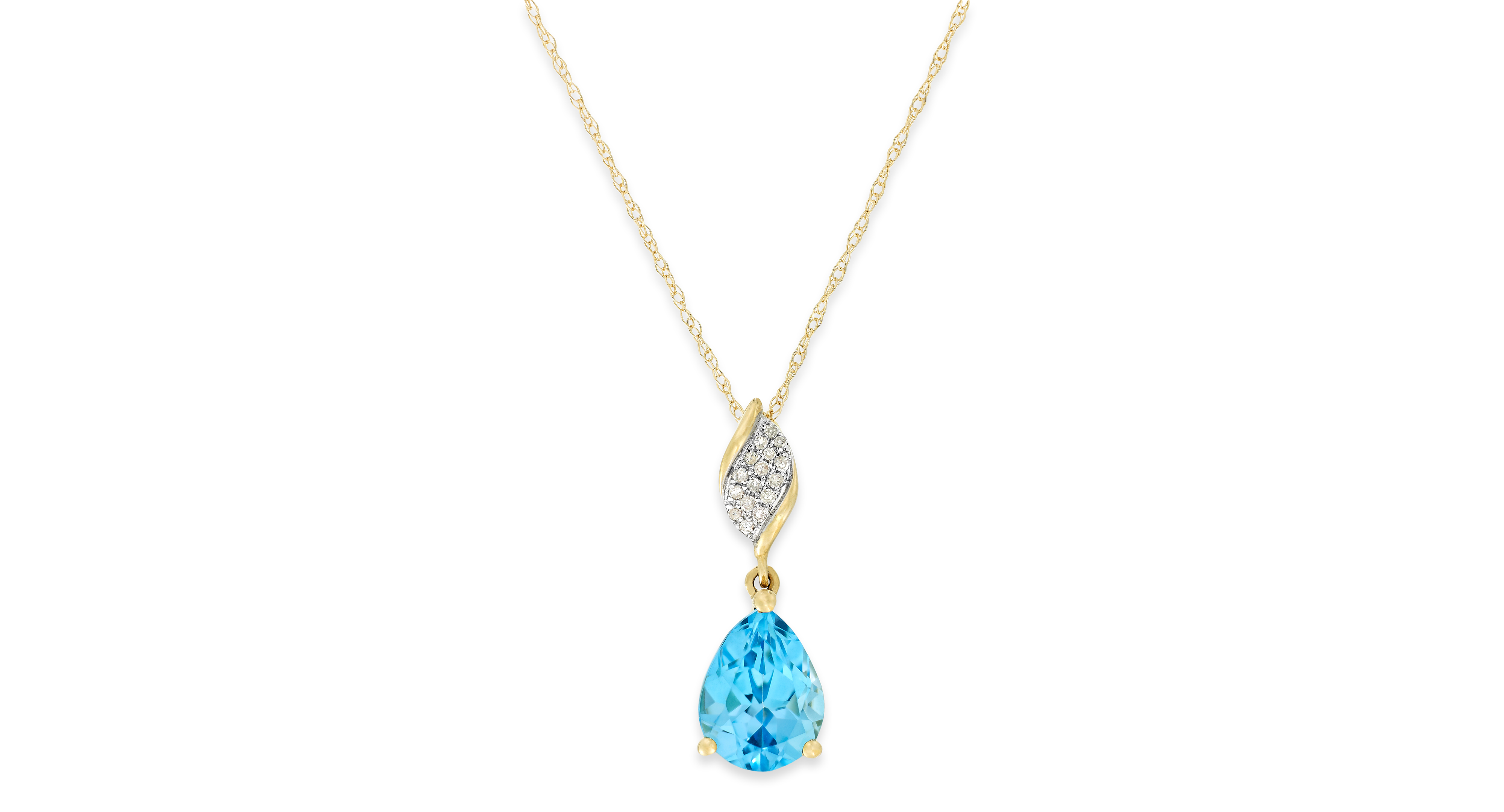Blue topaz ct tw and diamond accent pendant necklace in