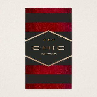 Negro, rojo moderno y oro elegantes rayados tarjeta de negocios