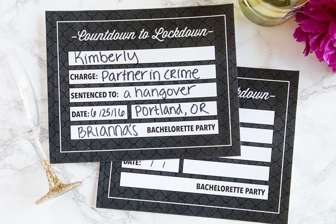 DIY Bachelorette Party Mugshots - Free Printable Download Wedding