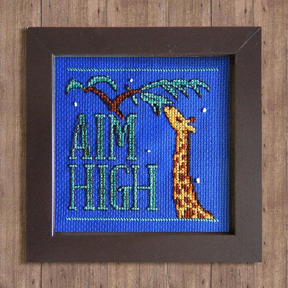 Aim High Giraffe Cross Stitch Pattern Instant Download PDF