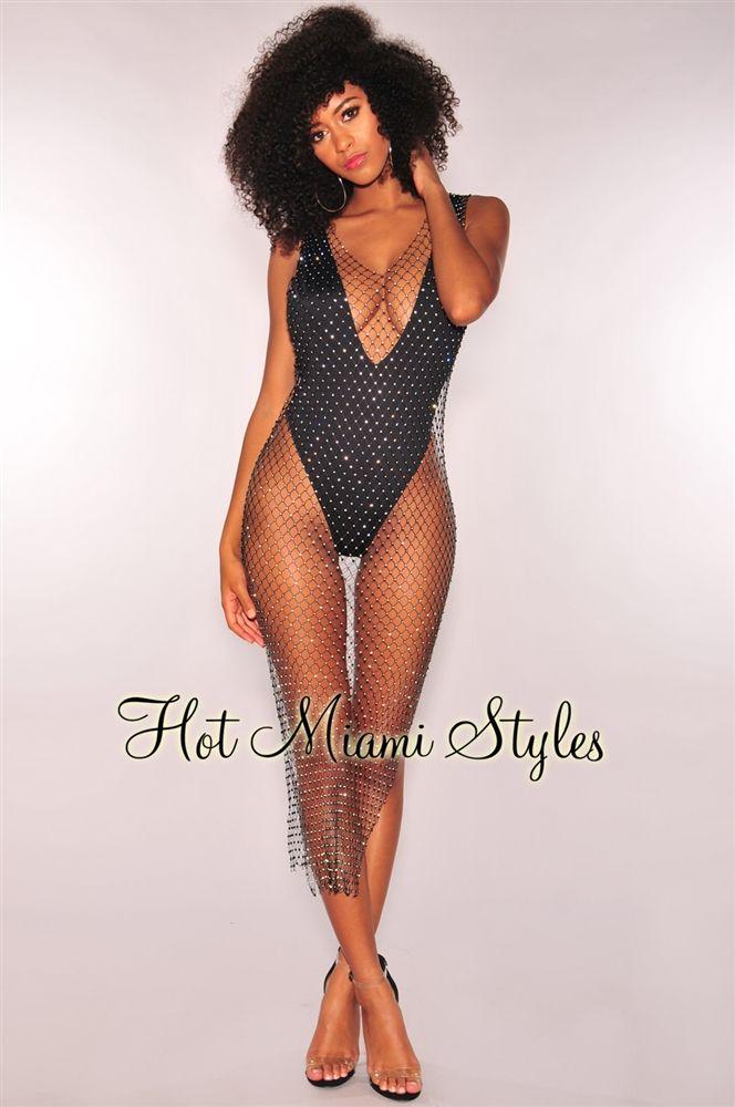 1a08cfbc1617f Black Fishnet Silver Rhinestone Cover Up Dress | Style ? | Black ...