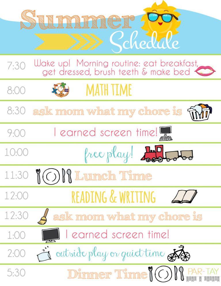Summer Boredom Blaster Calendar Daily Schedule Kids