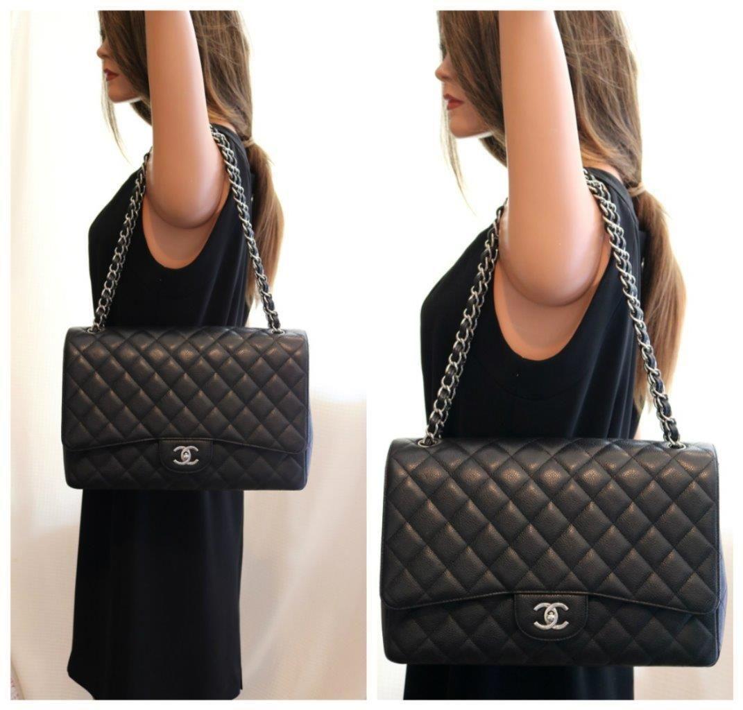 fa391f93c4b CHANEL Classic XL JUMBO MaXi Black CAVIAR Leather Single Flap Bag w/SHW  $4599.0