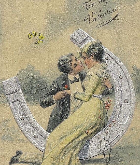 Embossed Vintage PFB Valentine Postcard Kissing by TheOldBarnDoor