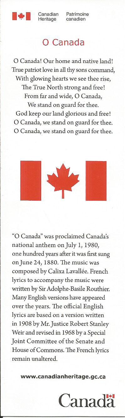 O Canada In French O Canada French O Canada Lyrics Canadian National Anthem