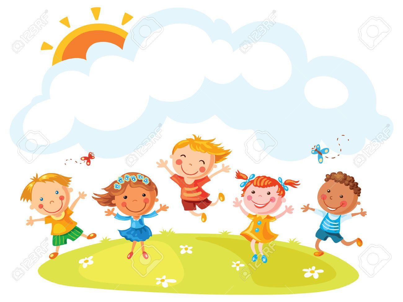 Felices Los Ninos De Dibujos Animados Saltando De Alegria En Una Colina Con Un Espacio De Copia No Degradados Happy Cartoon Cartoon Kids Clip Art School Kids