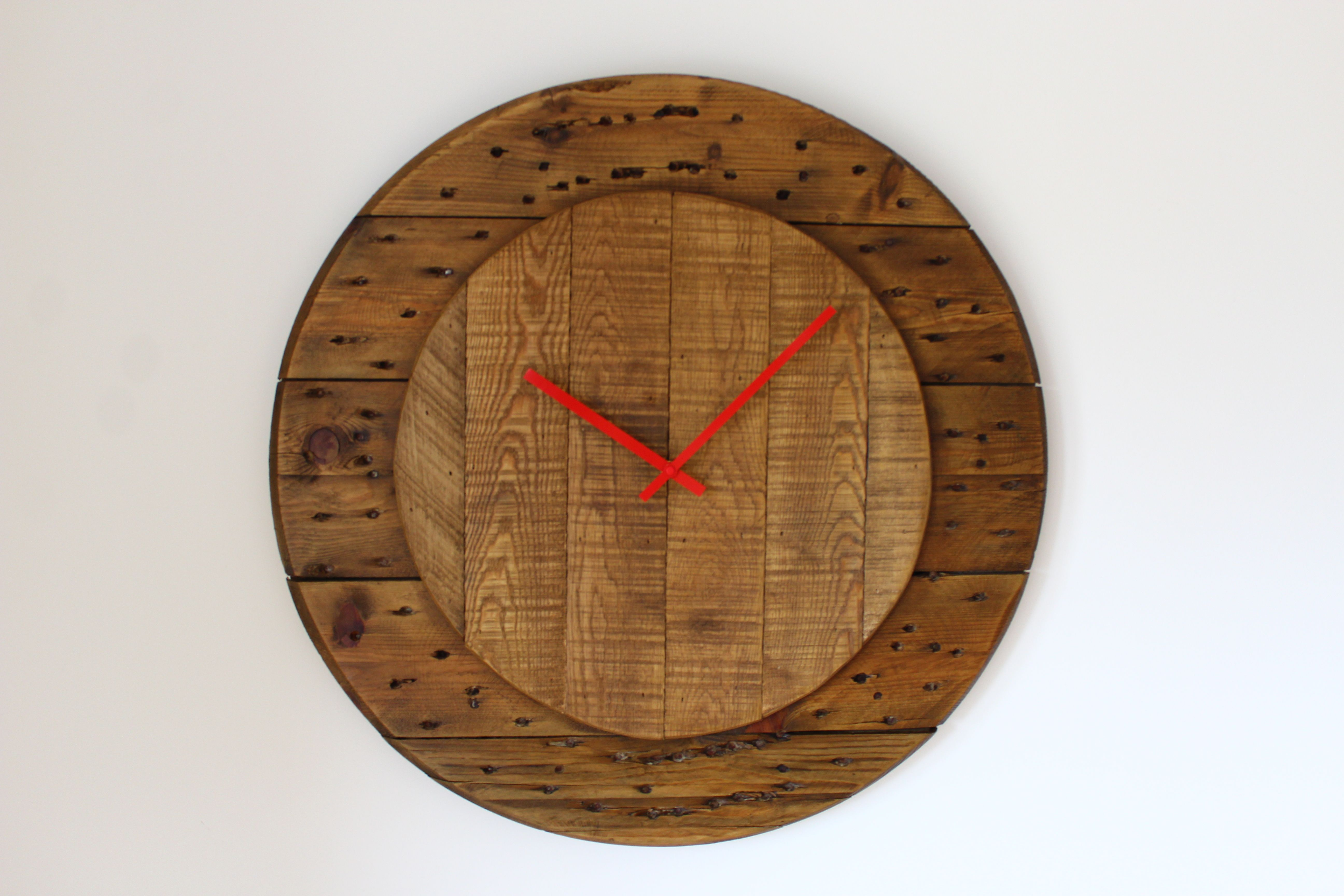 Rustic Wall Clock made from a cable reel and salvaged oak timber.