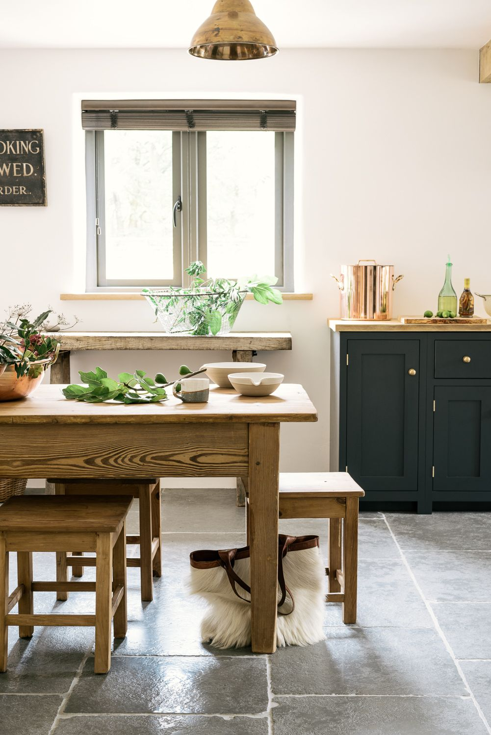 dark modern country kitchen. Dark Blue DeVOL Cupboards  Brass Hardware Pendant Lights And Antique Furniture Make For